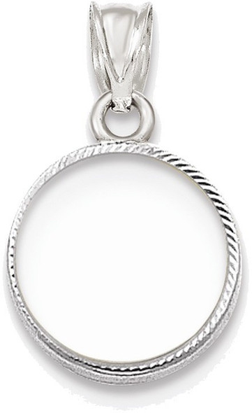 14k White Gold Diamond-Cut Prong 1/20oz Panda Bezel (Coin Not Included) Pendant