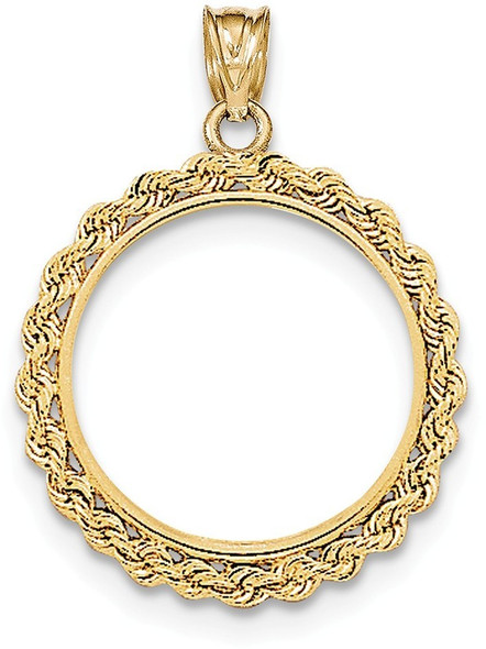 14k Yellow Gold Hand Made Rope Polished Prong 1/4oz Panda Bezel (Coin Not Included) Pendant