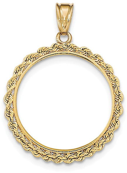 14k Yellow Gold Hand Made Rope Polished Prong 1/2oz Panda Bezel (Coin Not Included) Pendant