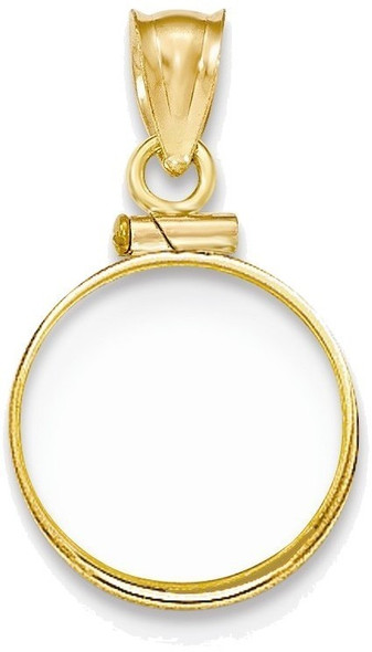14k Yellow Gold Polished Screw Top 1/20oz Panda Bezel (Coin Not Included) Pendant