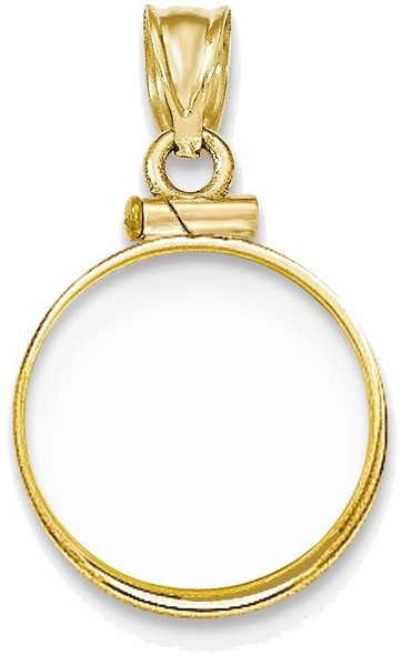 14k Yellow Gold Polished Screw Top 1/10oz Panda Bezel (Coin Not Included) Pendant