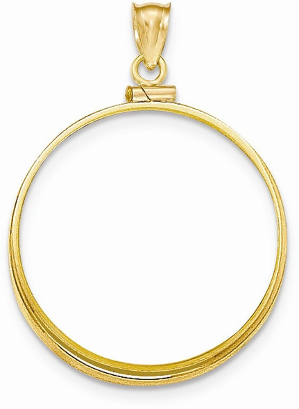 14k Yellow Gold Polished Screw Top 1oz Panda Bezel (Coin Not Included) Pendant