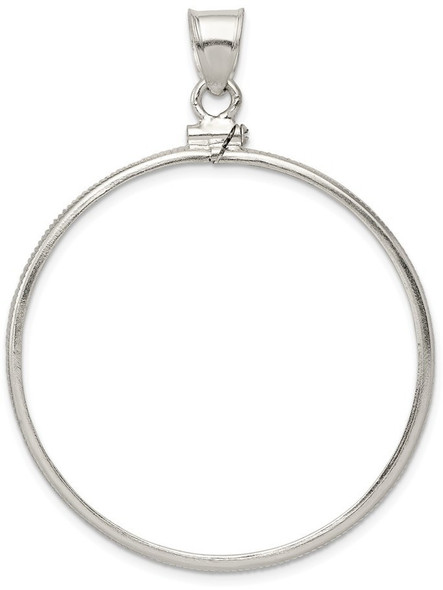 Sterling Silver 38.2 x 3.1mm Plain Coin Bezel Pendant