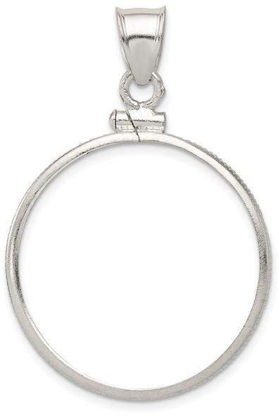 Sterling Silver 26.4 x 1.8mm Susan B. Anthony Plain Coin Bezel Pendant