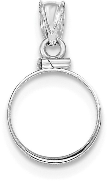 14k White Gold Polished Screw Top $1.0 Bezel (Coin Not Included) Pendant