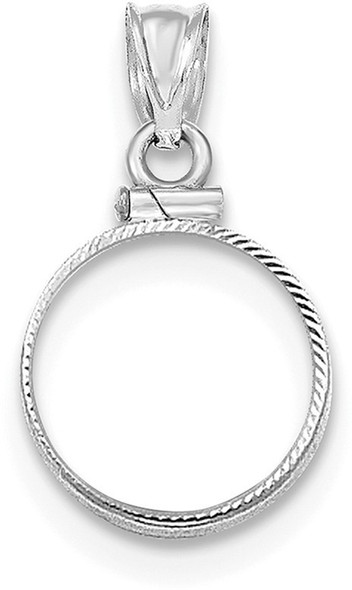 14k White Gold Diamond-Cut Screw Top 13 mm Bezel (Coin Not Included) Pendant