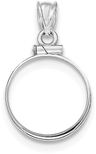 14k White Gold Polished Screw Top $2.5 Bezel (Coin Not Included) Pendant