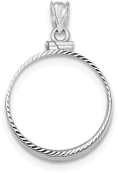 14k White Gold Diamond-Cut Screw Top $2.5 Bezel (Coin Not Included) Pendant