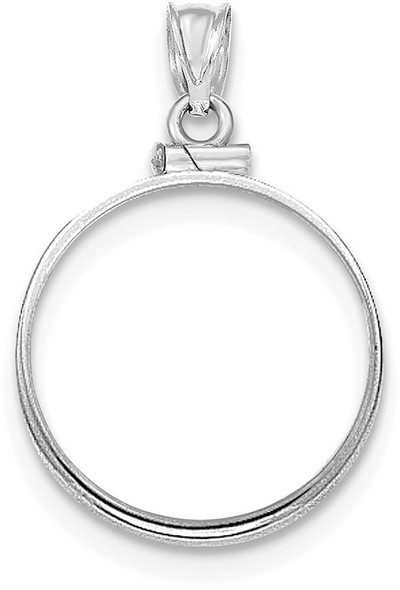 14k White Gold Polished Screw Top $5 Bezel (Coin Not Included) Pendant