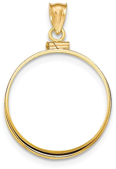 14k Yellow Gold Polished Screw Top $10 Bezel (Coin Not Included) Pendant