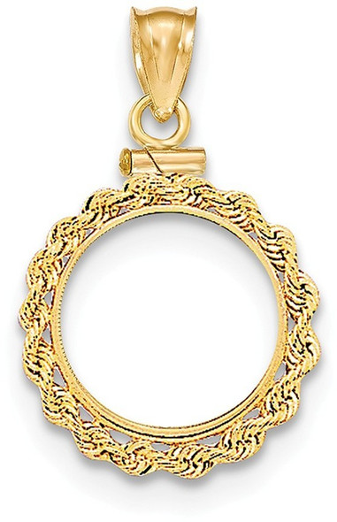14k Yellow Gold Hand Made Rope Polished Screw Top $1.0 Bezel (Coin Not Included) Pendant