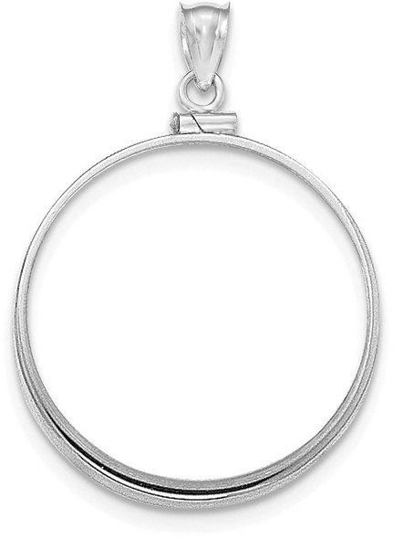 14k White Gold Polished Screw Top $20 Bezel (Coin Not Included)