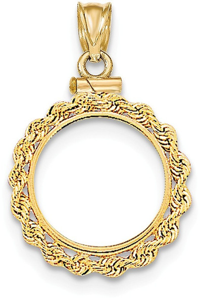 14k Yellow Gold Hand Made Rope Polished Screw Top $2.5 Bezel (Coin Not Included) Pendant