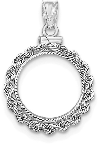 14k White Gold Hand Made Rope Diamond-Cut Screw Top $2.5 Bezel (Coin Not Included) Pendant