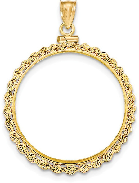 14k Yellow Gold Hand Made Rope Polished Screw Top $20 Bezel (Coin Not Included) Pendant