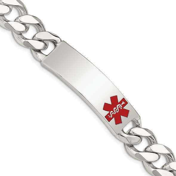 """8.5"""" Sterling Silver Polished Medical Curb Link ID Bracelet with Free Engraving"""