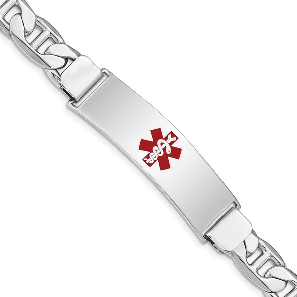 """7"""" Sterling Silver Rhodium-plated Medical ID Anchor Link Bracelet with Free Engraving"""