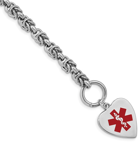 """7.75"""" Sterling Silver Rhodium Engravable Enameled Heart Medical ID Bracelet with Free Engraving"""