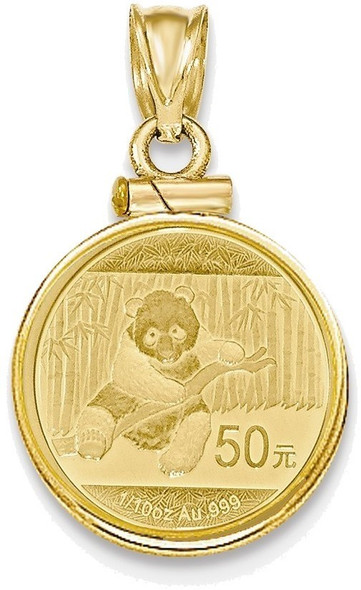 14k Yellow Gold 1/10 oz Mounted Panda Coin Screw Top Coin Pendant BP10/10PC