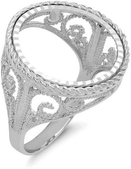14k White Gold 1/10oz American Eagle Diamond-Cut Coin Ring (Coin Not Included) CR11WD/10AE