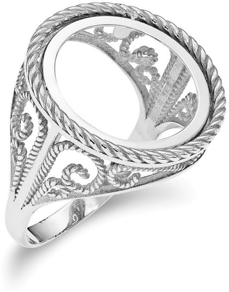 14k White Gold 1/10oz American Eagle Polished Coin Ring (Coin Not Included) CR11W/10AE