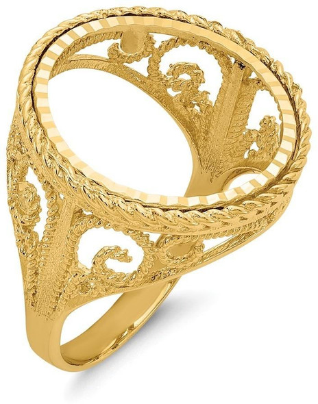 14k Yellow Gold 1/10oz American Eagle Diamond-Cut Coin Ring (Coin Not Included) CR11D/10AE
