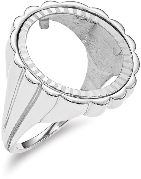 14k White Gold 1/10oz American Eagle Diamond-Cut Coin Ring (Coin Not Included) CR3WD/10AE