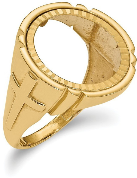 14k Yellow Gold 1/10oz American Eagle Diamond-Cut Coin Ring (Coin Not Included) CR10D/10AE