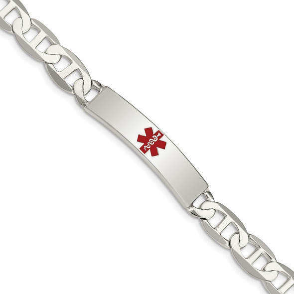 """7.5"""" Sterling Silver Polished Medical Anchor Link ID Bracelet XSM165-7.5 with Free Engraving"""