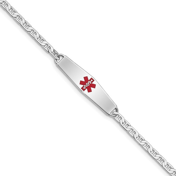 """7"""" Sterling Silver Rhodium-plated Medical ID Anchor Link Bracelet XSM1-7 with Free Engraving"""
