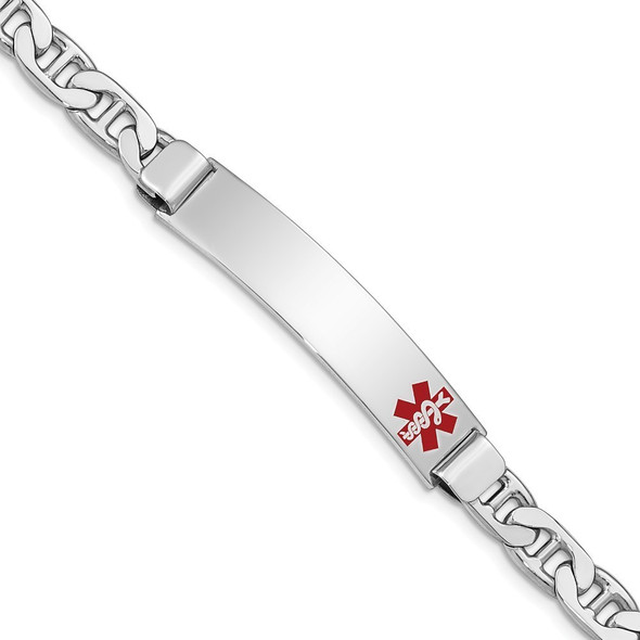 """8"""" Sterling Silver Rhodium-plated Medical ID Anchor Link Bracelet XSM30-8 with Free Engraving"""