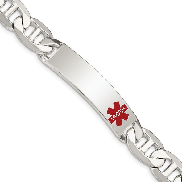 """8.5"""" Sterling Silver Polished Medical Anchor Link ID Bracelet XSM179-8.5 with Free Engraving"""