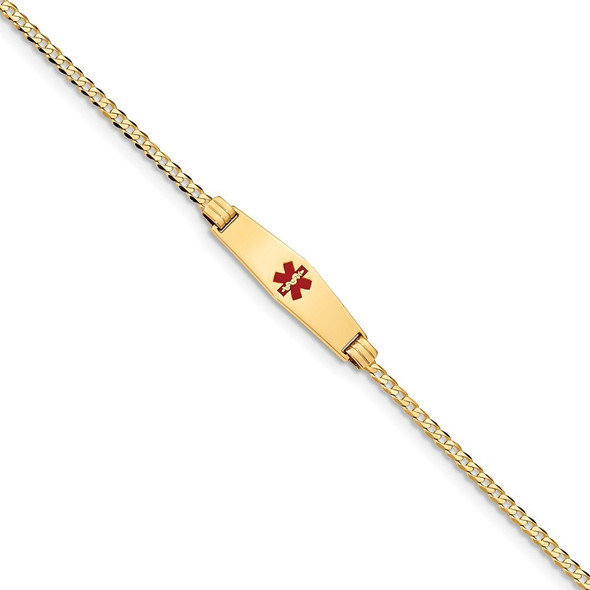"7"" 14k Yellow Gold Medical Soft Diamond-Shape Red Enamel Curb Link ID Bracelet XM551CC-7 with Free Engraving"