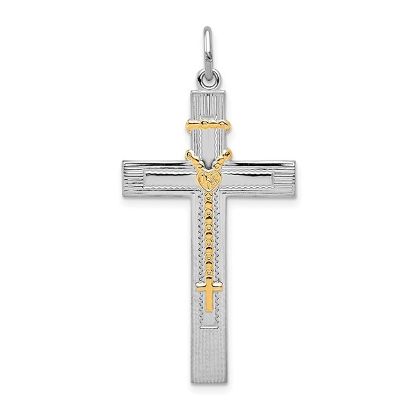 Sterling Silver Rhodium-plated & Gold-tone Rosary on Cross Pendant
