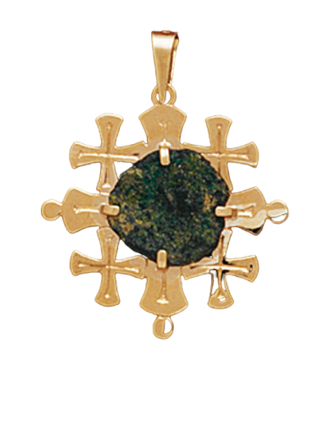 14K Yellow Gold Mini Jerusalem Cross Pendant With A Widow MIte Coin