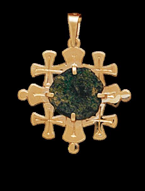 14K Yellow Gold Mini Jerusalem Cross Pendant With A Widow MIte Coin
