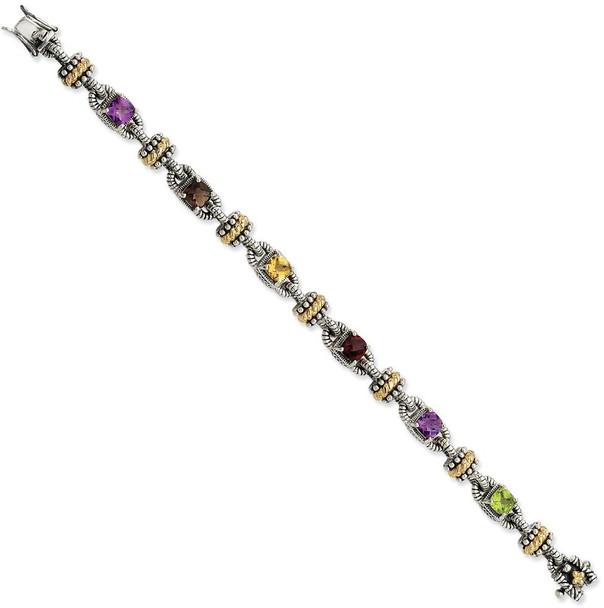 "7.5"" Sterling Silver & 14k Yellow Gold Multicolor Gemstone Bracelet"
