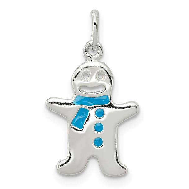 Sterling Silver Polished Enamel Gingerbread Man Charm
