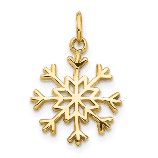 14k Yellow Gold Snowflake Charm