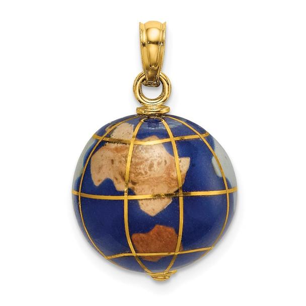 14k Yellow Gold 3-D Enamel World Globe Pendant
