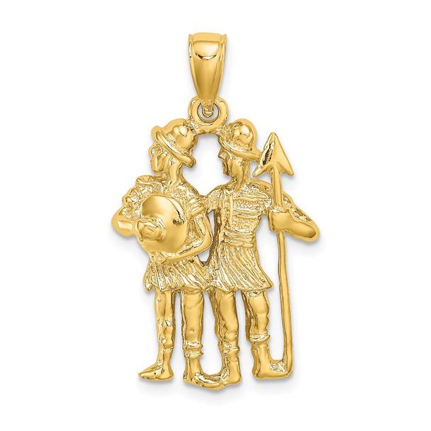 14k Yellow Gold Large Gemini Zodiac Pendant