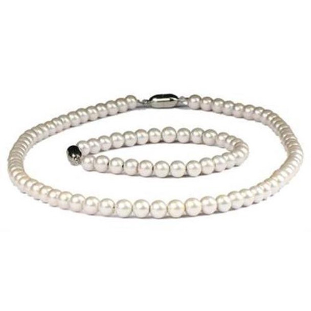 Nobility Pearls - Pearl Coated Hematite Magnetic  Bracelet and Necklace Set