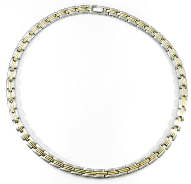 Gold Tone Grooves - gold-plated Stainless Steel Magnetic Necklace