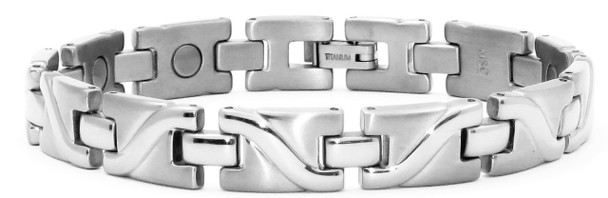 Surf - Silver-Plated  Titanium Magnetic  Bracelet