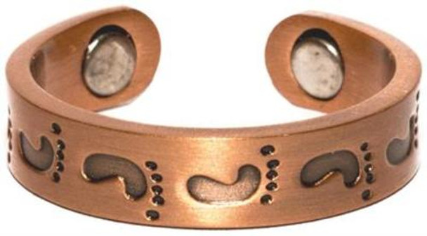 Copper Foot Prints - Magnetic Therapy Ring