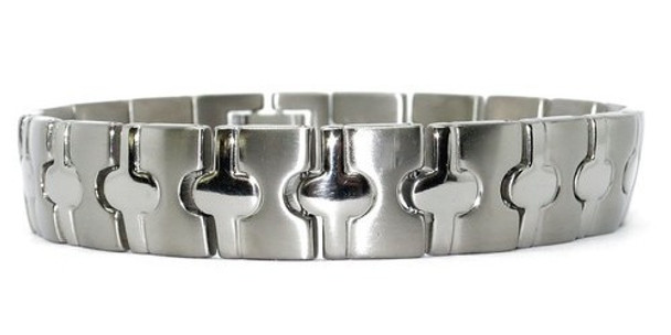 Ovals - Silver-plated  Titanium Magnetic Therapy Bracelet