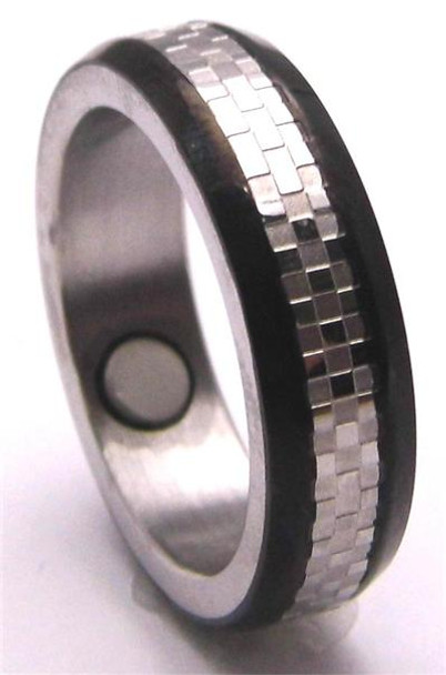 Black Lines - Stainless Steel Magnetic Therapy Ring