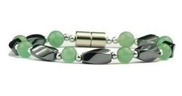 Hematite & Simulated Jade - Magnetic Therapy Bracelet