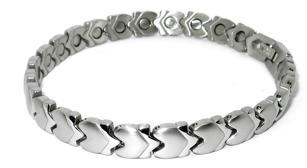 Arrows -  Silver-plated  Stainless Steel Magnetic Therapy Bracelet