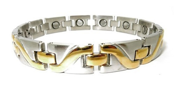 Gold Tone Wave - Gold-Plated Stainless Steel  Magnetic  Bracelet